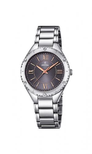 F16921/2 Festina Ladies Watch Round Grey Dial Bracelet